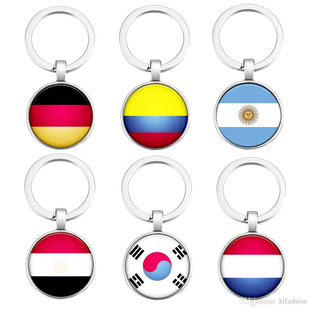 Drapeau Rond acheter 2018 mode coupe du monde drapeau rond en verre porte clés