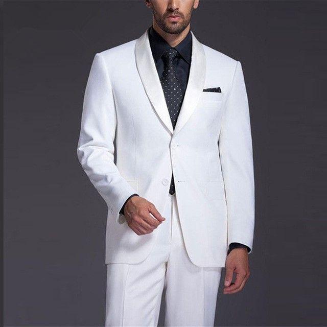 c3ff5686f Compre Italian Style Casamento Branco Homens Fatos De Smoking Homens Feitos  Sob Medida Noivo Ternos Jacket + Pant Mais Recente Projeto De Mujing, ...