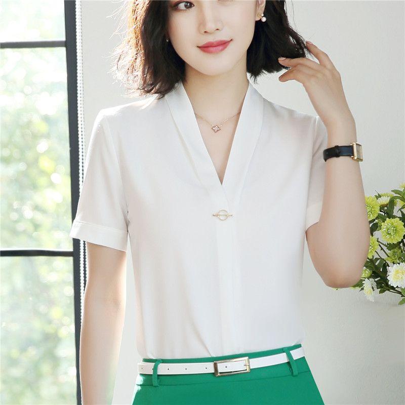 f1757f2dfa5 2019 New Fashion Sexy V Neck Women White Shirt OL Summer Formal Short  Sleeve Slim Chiffon Blouse Office Ladies Plus Size Workwear From  Donnatang240965