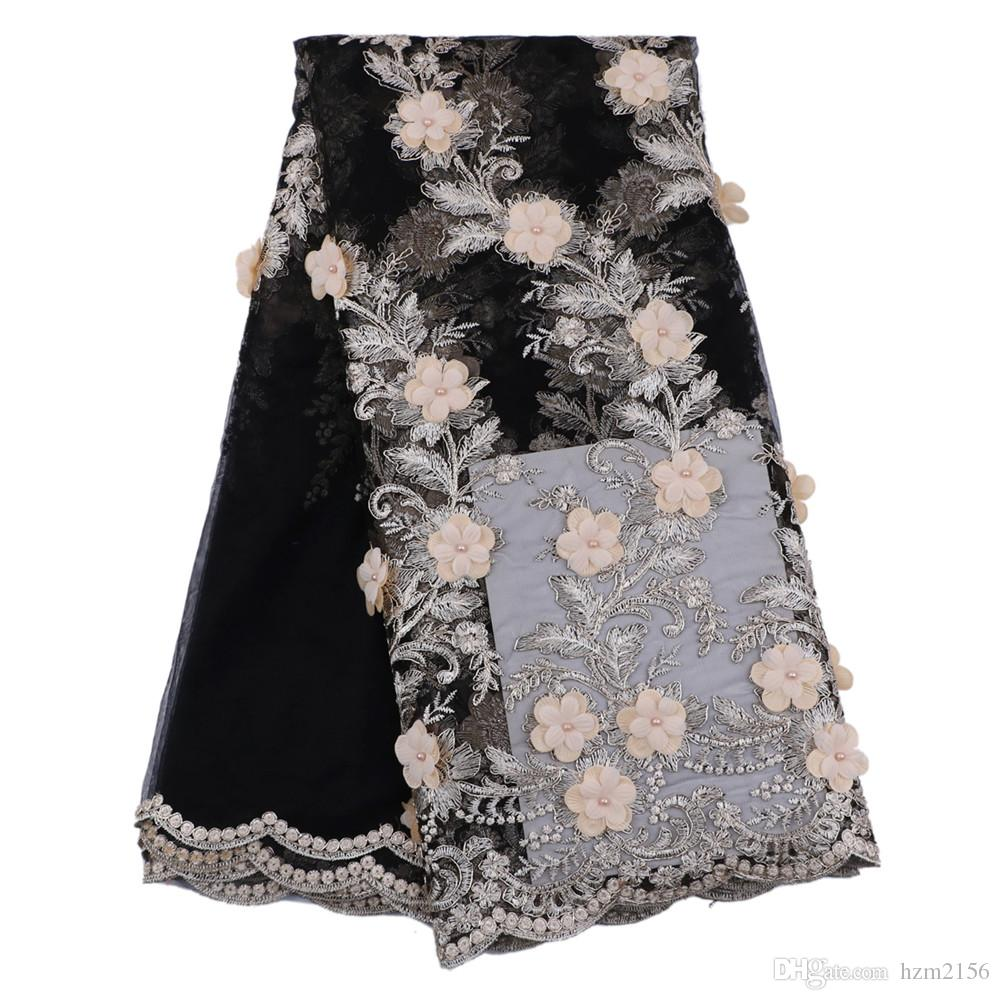Fancy party dress good 3d flowers quality french tulle lace fabric black net mesh embroidery lace fabric