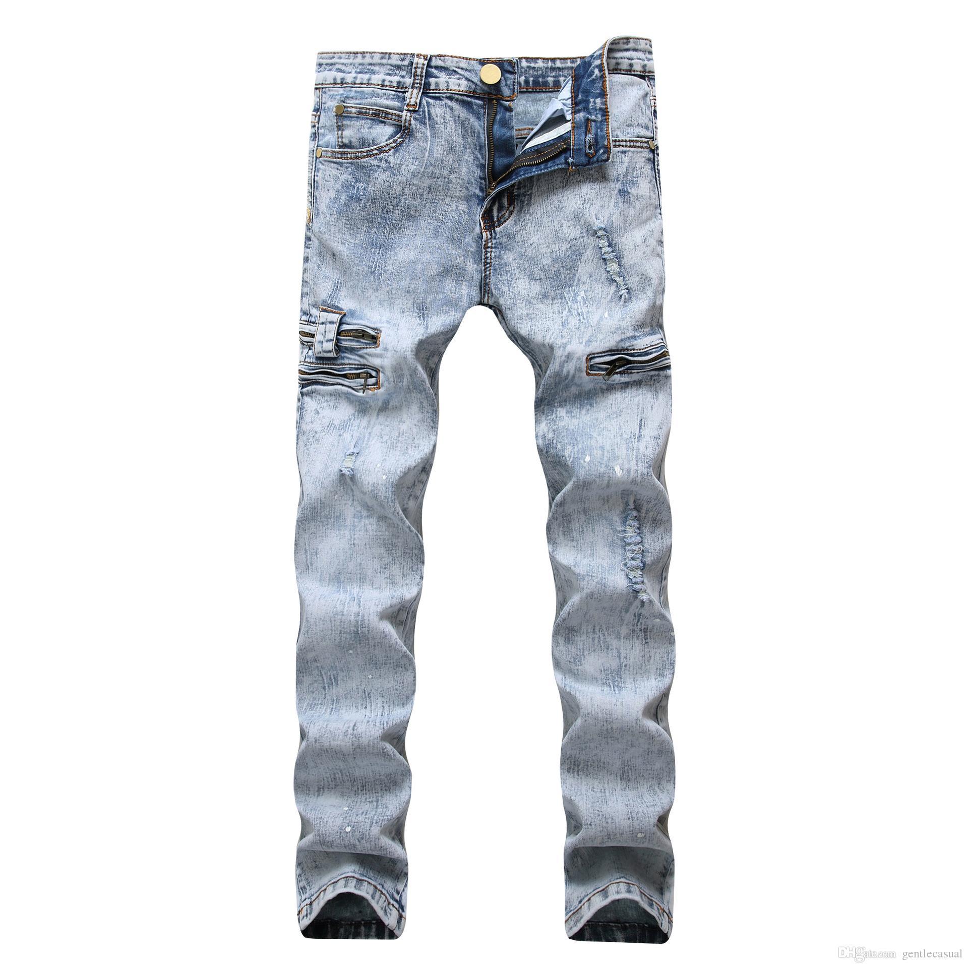 Erkekler İnce Jeans Açık Mavi Sparks Tasarım Fermuarlar Elastik Erkek Jeans Kalem Pantolon Yıkanmış
