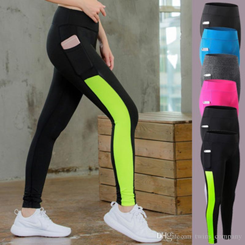 727cb4578 Compre Pantalones De Yoga De Las Mujeres De Alta Elasticidad Polainas De  Bolsillo Deporte Pantalones De Deporte De La Aptitud De Las Mujeres  Pantalones De ...