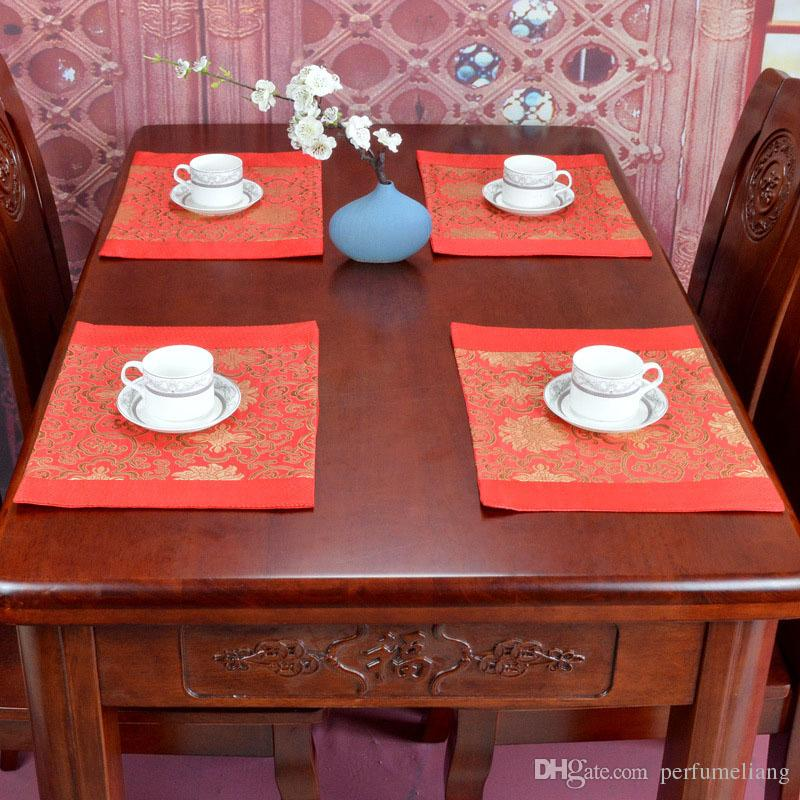 Silk Brocade Fabric Placemats for Dining Table Luxury Chinese Traditional Flower Table Mat Rectangle Protective Pad ZA6407