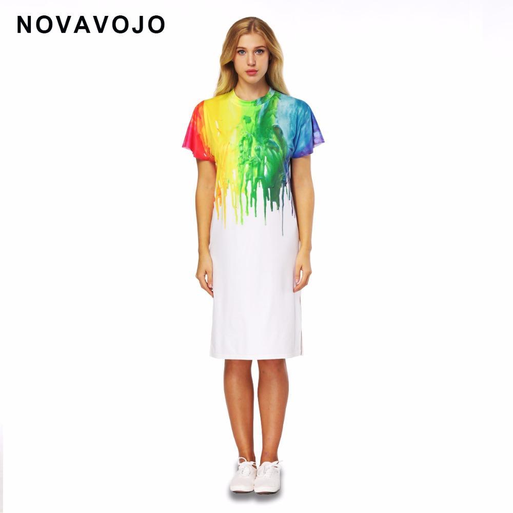7faf38d577 2019 NOVAVOJO Brand Colorful 3D Paint Printing Long Girls T Shirt Dress  Summer Ladies Dress White Color Women Split From Matilian