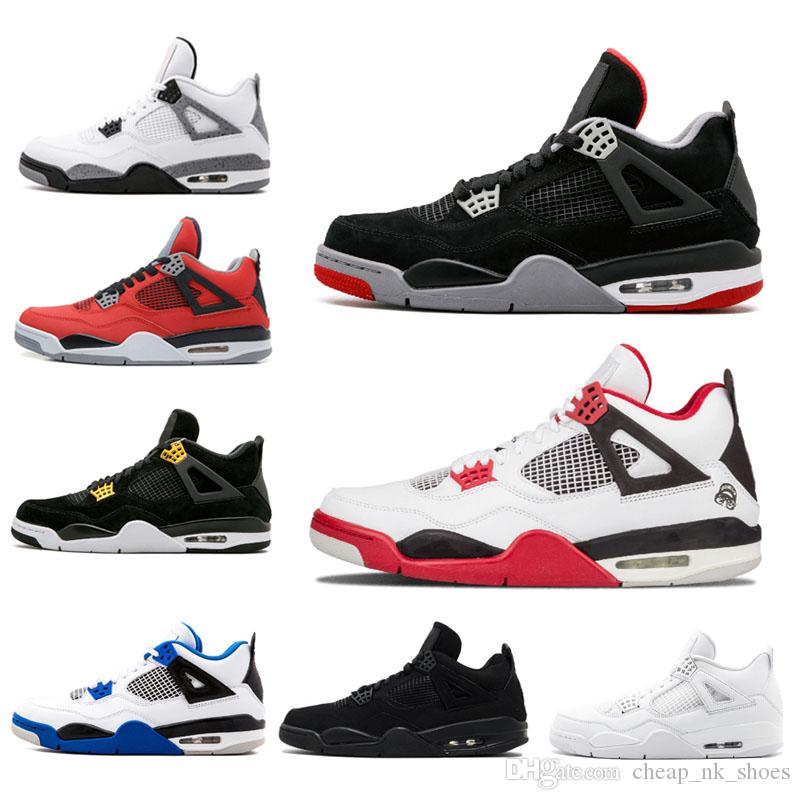 7acfd60df8cca0 Cheap Sale 4 4s Bred Fire Red Men Basketball Shoes Pure Money White Cement  Black Cat Toro Bravo Trainer Sports Sneakers Us 8 11 Low Top Basketball  Shoes ...
