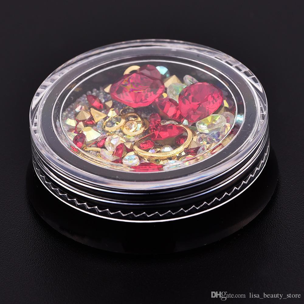 Colorido de uñas cristal Rhinestones 3D decoración del clavo del arte del clavo de la joyería granos de cobre del clavo del brillo del remache Accesorios