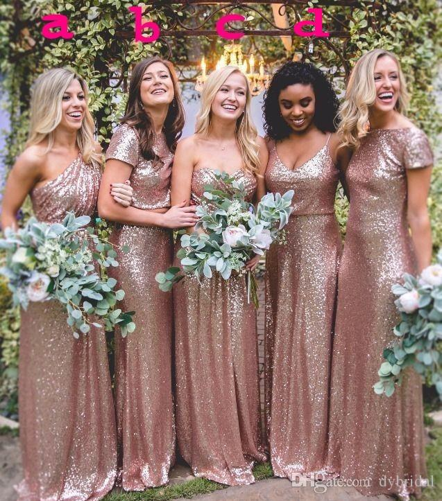 2018 sexy cheap plus size maid of honor dresses gold bridesmaid dresses long dresses for wedding party