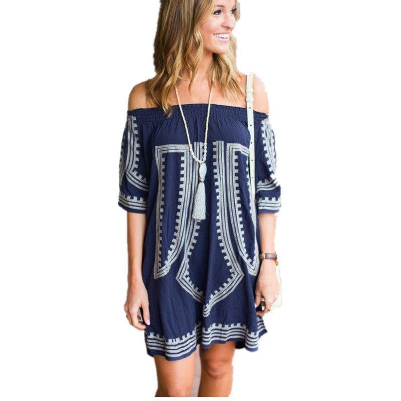 3238175f0c61b New Arrivals Beach Off Shoulde Embroidery Vintage Swimwear Ladies Tunics  Kaftan Beach Dress Beach Wear Women Boho Chic Mori Girl Blue Party Dress  Plus Size ...