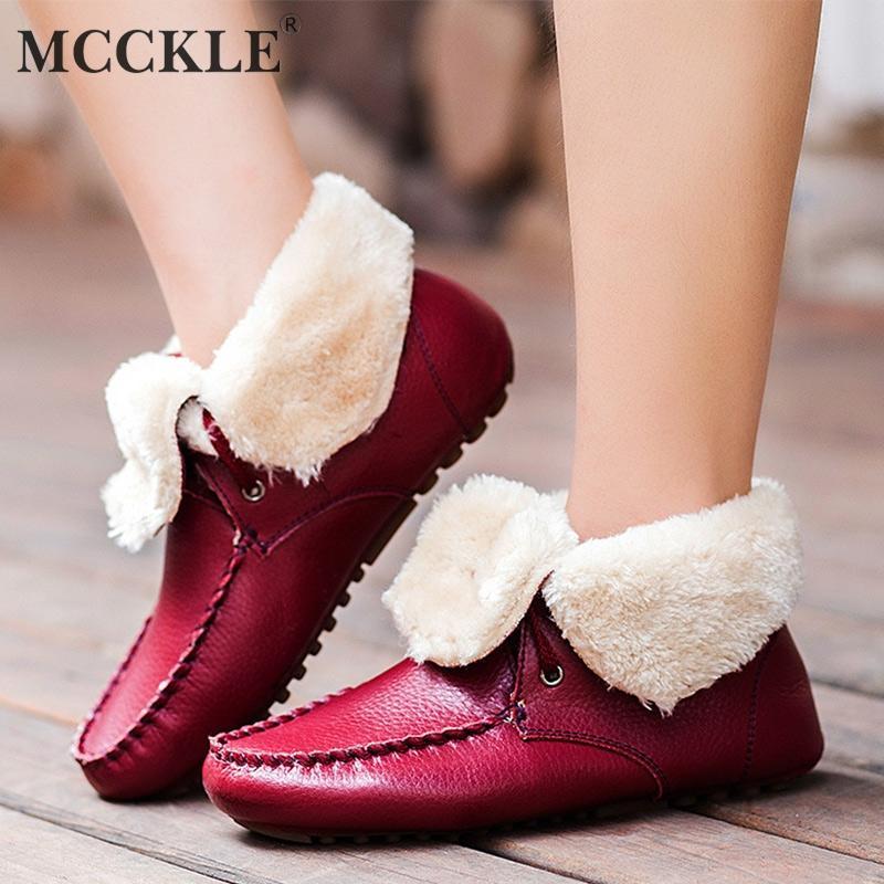 a621a6a64 Compre MCCKLE Inverno Mulheres Casuais Faux Fur Botas De Neve Moda Lace Up Sapatos  Rasos Para Calcinha Feminina Quente Senhoras Botas Curtas De Showway, ...
