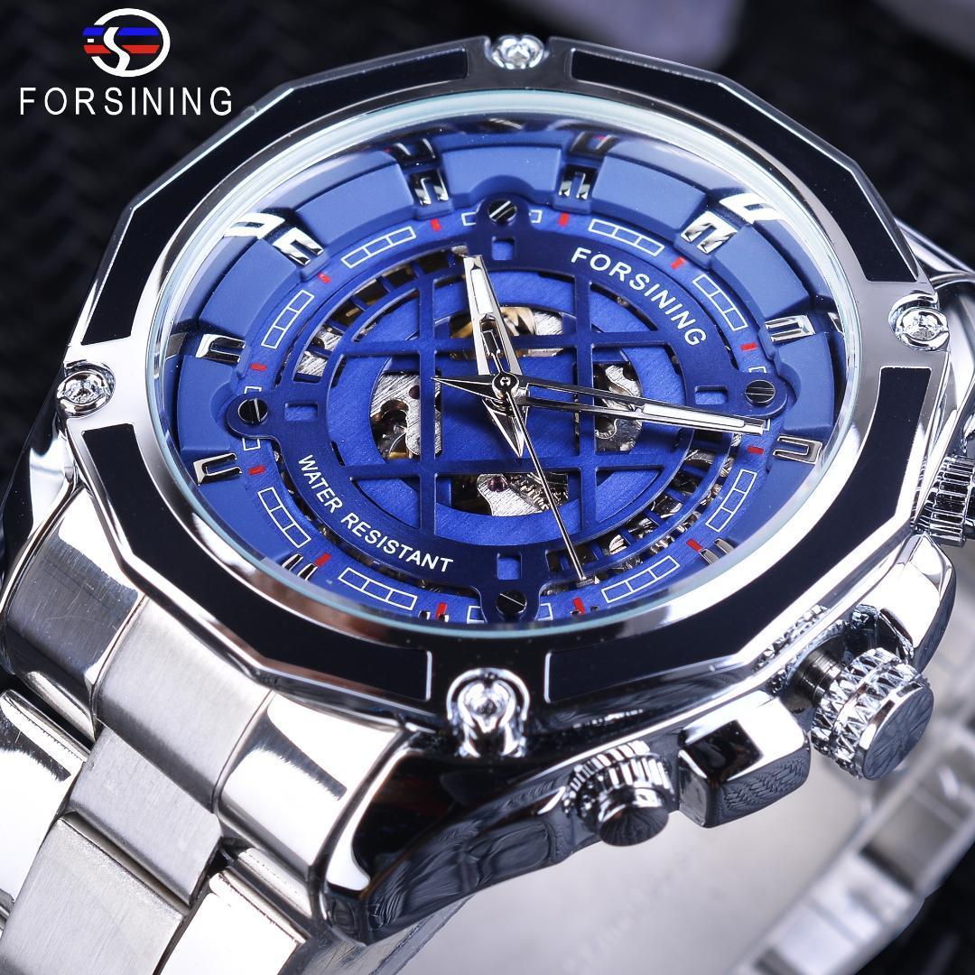 7a74ccfc218 Compre Forsining Skeleton Relógio De Prata De Aço Inoxidável Moda Azul Dial  Com Luminous Hands Relógios Automáticos Dos Homens Top Marca De Luxo De ...