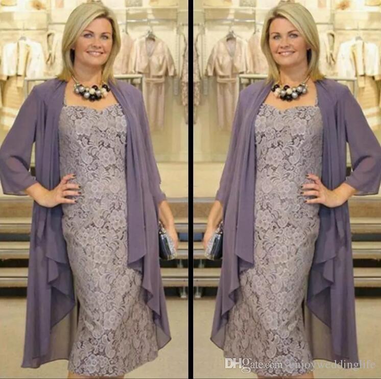 Thé longueur deux pièces robes de mère de la mariée avec vestes en mousseline de soie gaine dentelle robes de mères pour des événements de mariage robes de soirée de bal
