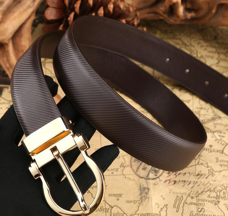 Belt For Men And Women Top Leather Brand Designer Casual Men Belts Black Stitches Luxury Male Belt With Golden Pin Buckle 125cm Men's Belts