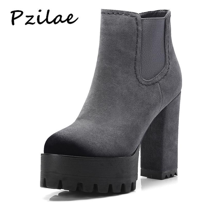 d539ec07e3c Compre Pzilae Super High Heel Botines Mujer Negro Gris Cremallera Señoras  Plataforma Moda Botas Más Tamaño 42 Botines Mujer 2018 A  62.75 Del Potatoo  ...