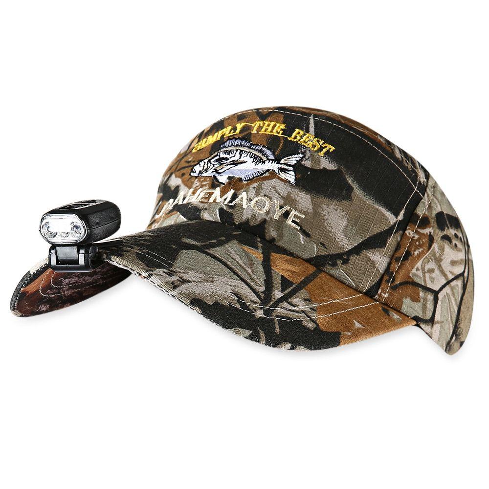 Compre LEO Chapéu De Pesca Camuflada Ajustável Com Farol De LED Proteção  Solar 1bf74100946