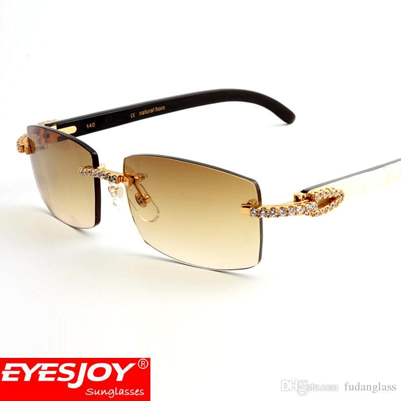 87b8121c3f8 White Black Buffalo Horn Sunglasses Diamond Frames Rimless Lens Brand  Designer Sunglasses For Men Luxury Glasses With Box CT3524012 Cat Eye  Sunglasses Round ...