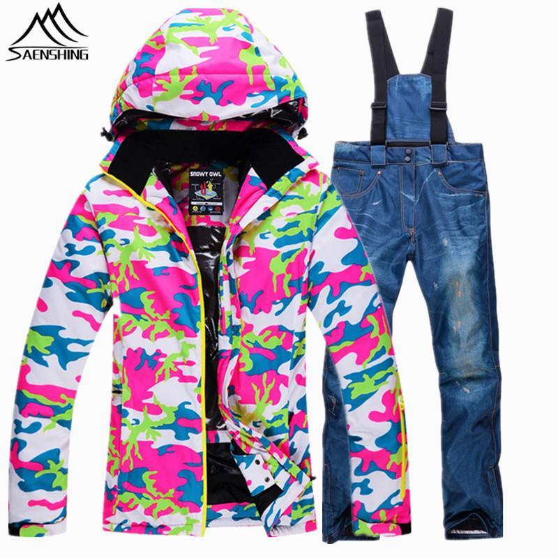 3a20c88b7505d Saenshing Camouflage hiver ski costume femelle chaude imperméable à l'eau  10K neige ski veste + denim snowboard pantalon femmes Ski ski costume