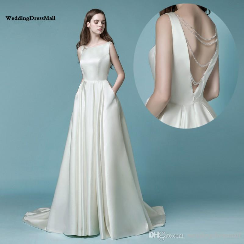 48b67d2c8419 Discount Satin Wedding Dress 2019 Vestido De Noiva Simples Gelinlik Simple  Wedding Dresses With Pocket Ivory Backless Crystal Bridal Gown New Wedding  ...