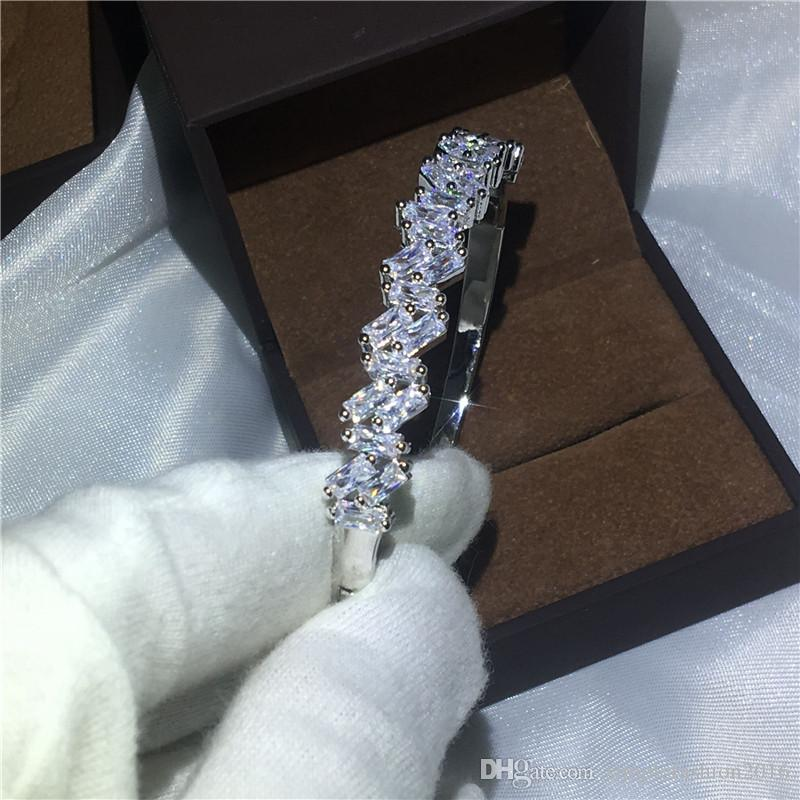 Señora de la oficina Baguette Cuff pulsera nupcial Diamond S925 Silver Filled Bangle del compromiso para las mujeres joyería de la boda