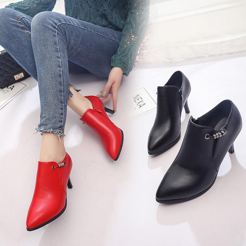 Compre Zapatos De Tacones Gruesos Mujer Mujer Zuecos De Cuero De Cristal  Bombas Bajas Altas Señoras De La Moda Liangpian Roundchunky Tacones De  Cuero Para ... b75078fe81e5
