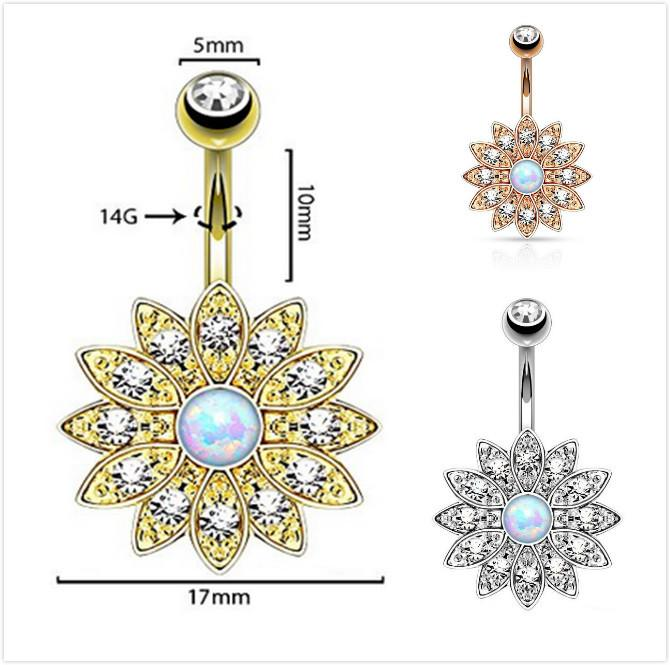 2019 Fashion Elegant Natural Opal Crystal Flower Rhinestone Piercing  Fashion Button Navel Belly Button Rings Nail Body Jewelry From Susanjoying 4367064e1351