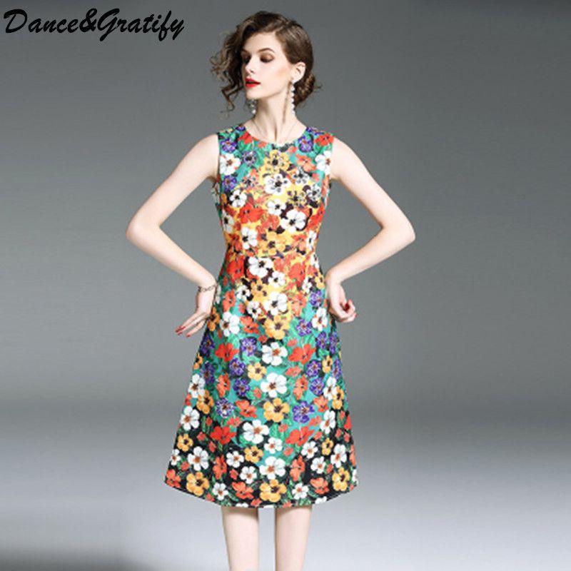 20324f7c437cc2 Großhandel Hohe Qualität Frauen Runway Designer Kleid Mode 2018 Neue Sommer  Sleeveless Vintage Print Jacquard Party Kleid Plus Größe Von Splendid99, ...