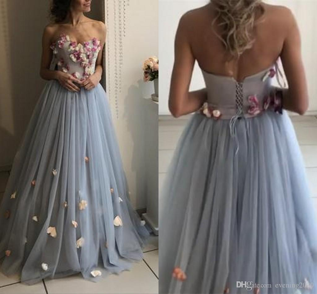 eb5c82e67e1 Sweet A Line Prom Dresses Floral Flowers Sweetheart Tulle Floor Length  Newest Design Strapless Shoulder Party Dresses Long Prom Dresses Under 200  Modern ...