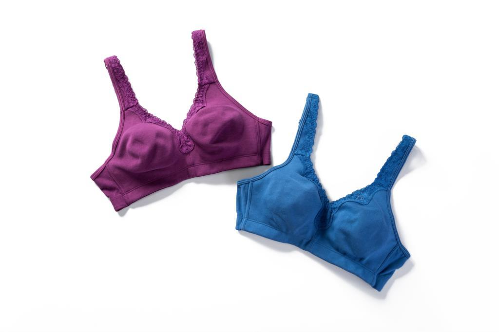 New Lace Trim Full Coverage Cotton Wirefree Bra Plus Size 36-48 B C D DD E