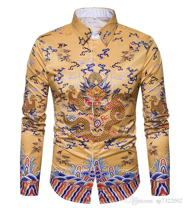 cd86e1319ba71e 2019 Hot Sale Men Shirt Long Sleeved Fashion Floral Printing Male Brand  Clothing Formal Casual Shirt Man DS097 From Sp7322002