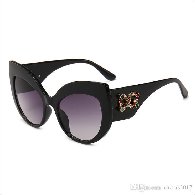 85e8254e739 Brand Luxury Ladies Sunglasses Women Diamond Designer Cat Eye Big ...