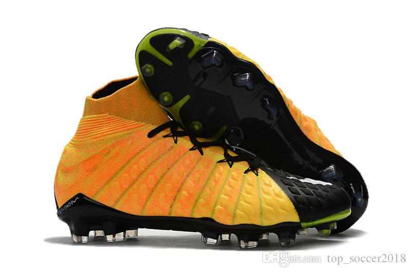 c574b736183a 2018 Football Boots Orange Black Soccer Cleats 100% Original Hypervenom  Phantom Iii Df Fg Neymar
