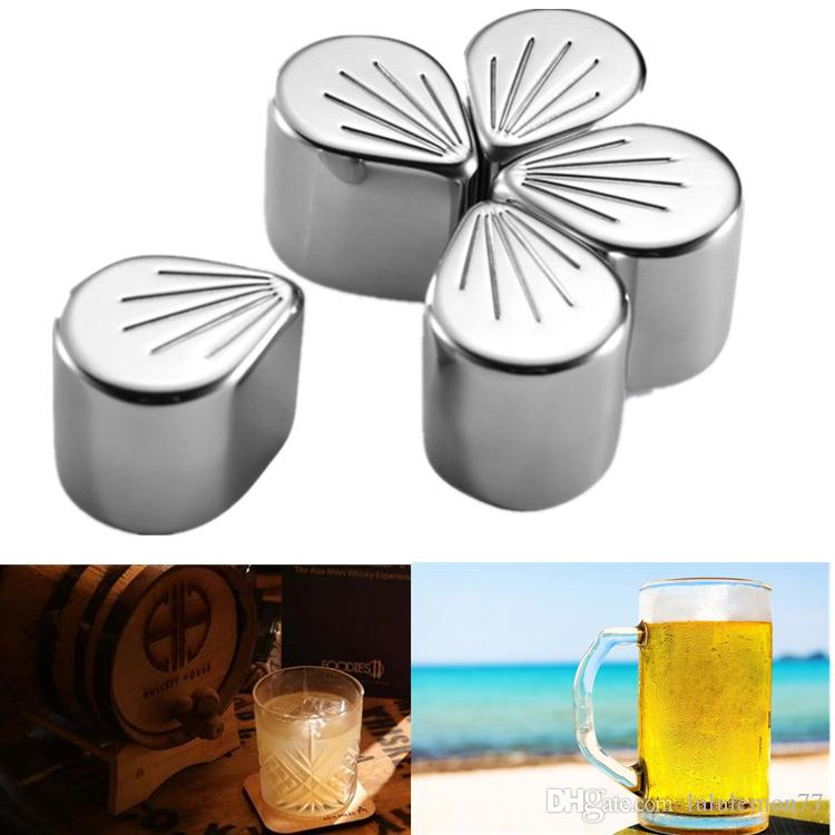 Stainless Steel Coolers Stone Whiskey Cooler Wine Beer Stones Ice Cooler  Rock Ice Sakura Petal Cube Alcohol Cooled Metal for Bar SWI03
