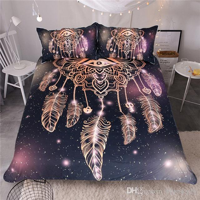 Eye Dreamcatcher Bedding Set King Size Luxury Galaxy Golden Print Cool Dream Catcher Comforter