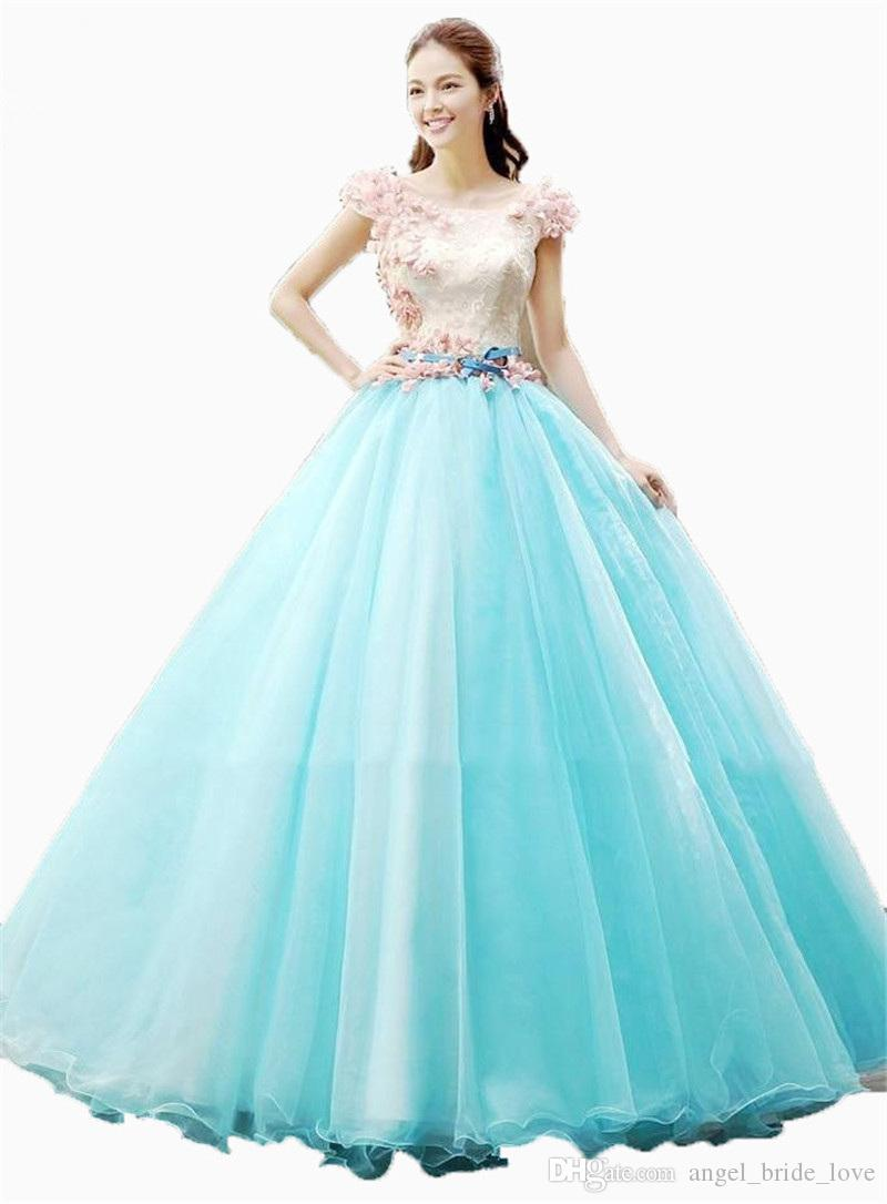 2cffef0b1f 2018 Princess Scoop Flowers Lace Ball Gown Quinceanera Dresses With ...