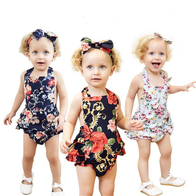 a5b52339cc67 2019 Mikrdoo Baby Girl Clothing Set Fashion Toddler Baby Girls Floral  Bodysuit Romper With Headband Summer Clothes Suits For 0 2T From Mikrdoo