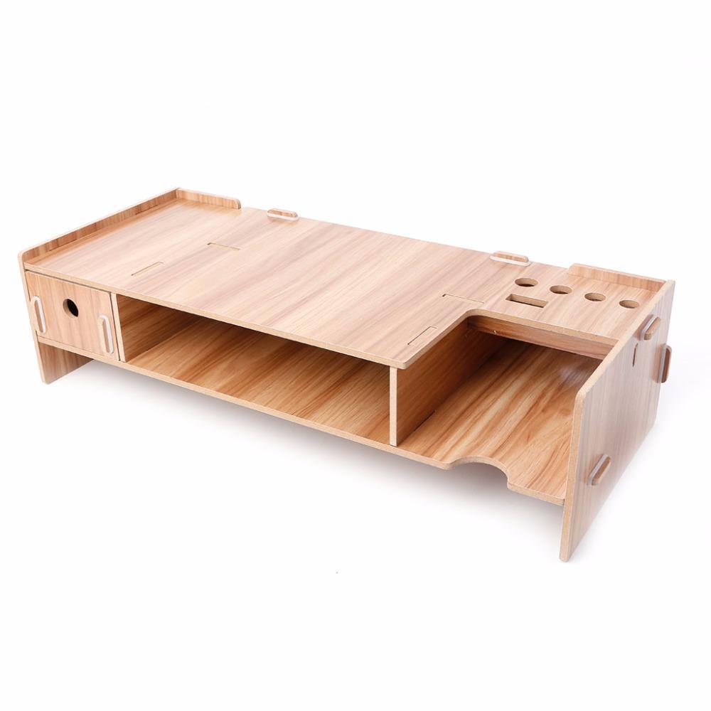 High Quality Wooden Desktop Monitor Riser Tv Stand Holder Over Keyboard Desk Organizer Storage Space For