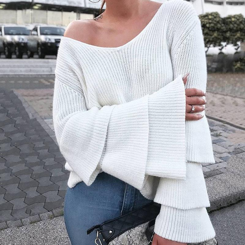 da4af329c3407 2019 Winter Knitted Sweater Women 2019 New Autumn White Pullover Sweater  Sexy Deep V Neck Long Sleeve Tops From Jamie05, $33.47   DHgate.Com