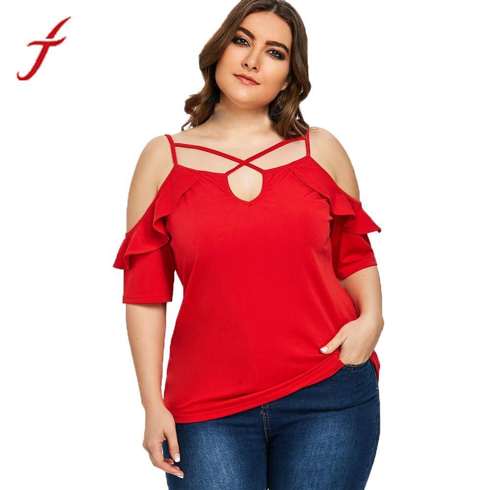 97482ca2a Compre FEITONG Plus Size Blusa Ruffle Mulheres Fora Do Ombro Openwork Sling  Camisa Sem Alças Soltas Blusas Femininas Tops XL ~ 5XL De Keviny, ...