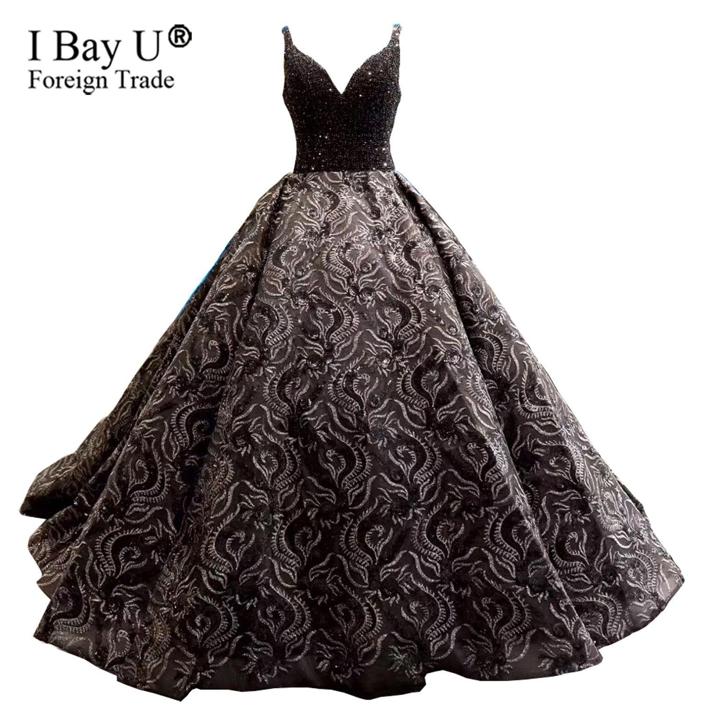 b4a8bc681443 Puffy Black Wedding Dress Sequined Beaded African Bridal Dress Elegant Long  Wedding Dresses Bling Beading Dress Dubai Beautiful Wedding Gowns Bridal  Gown ...