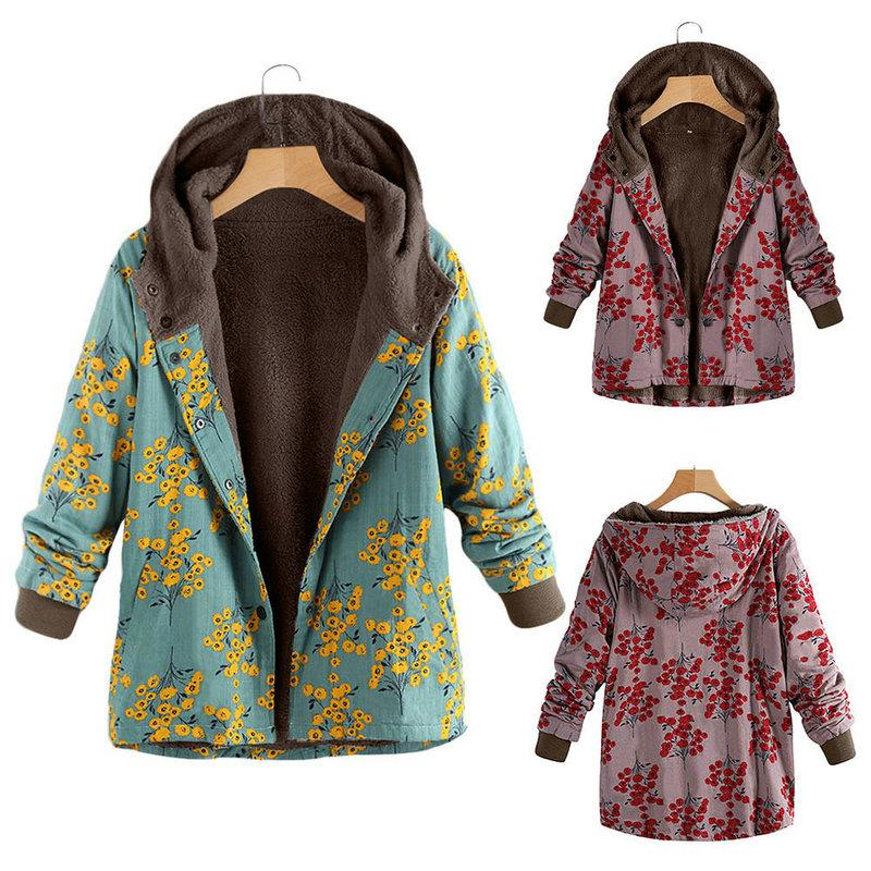 8949f25957a52 2019 Autumn Winter Thick Trench Coat Floral Printed Women Coat Fashion  Casual Hooded Ladies Outerwear Hot Sale Plus Size Coat From Wuarray