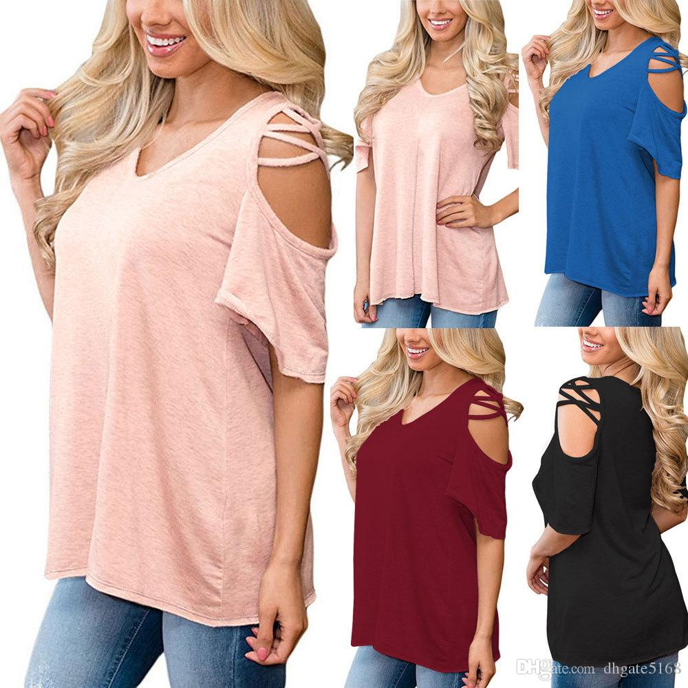 42b8a17c484d2 Womens Casual Loose Cold Shoulder Basic Summer Sexy T Shirts V-Neck ...