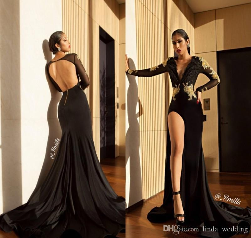 2019 Sexy Open Back Prom Dress Black High Slit Long Sleeves Formal Pageant Holidays Wear Graduation Evening Party Gown Custom Made Plus Size
