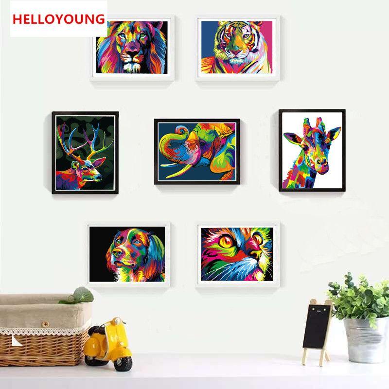Satın Al Helloyoung Diy Handpainted Yağlıboya Hayvan Resimleri