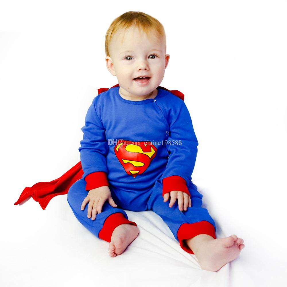 100% Cotton Superman Newborn Rompers Long Sleeve With Cloak Halloween Christmas Baby Cartoon Clothes Infant Autumn Winter Clothing