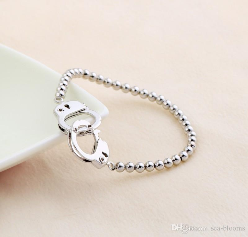 Trendy Handcuffs Bracelets For Women Fashion Carved Couples Lock Bracelets & Bangles Couple Lover Handcuff Jewelry Valentine's Gift D506S