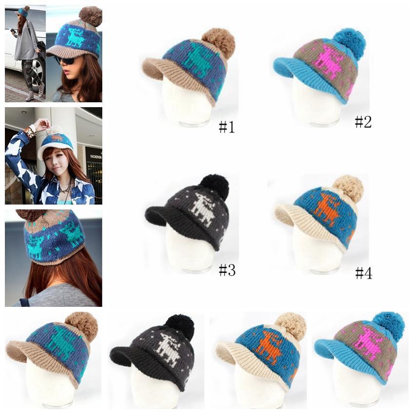 0ee20462 2019 Deer Beanies Hats Winter Knitted Pom Cap Brim Ponytail Messy Bun Solid  Ribbed Beanie Warm Headwear Hats GGA1174 From B2b_life, $2.24   DHgate.Com