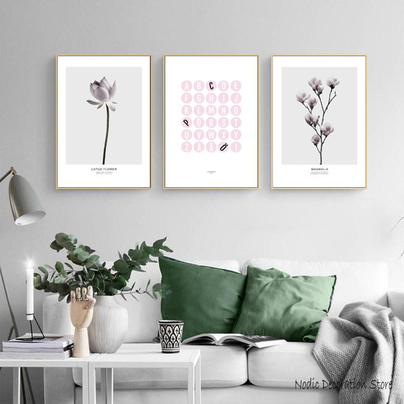 Nordic Magnolia Pink Lotus Flowers Posters And Prints Wall Art Pink