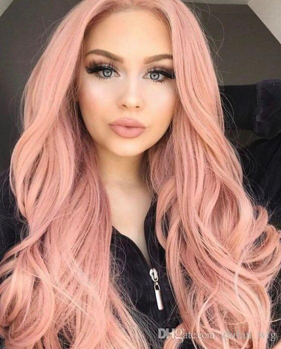 ZhiFan pink synthetic lace front wig lace front wigs fast shipping 28inch pink synthetic hair wig long natural wavy