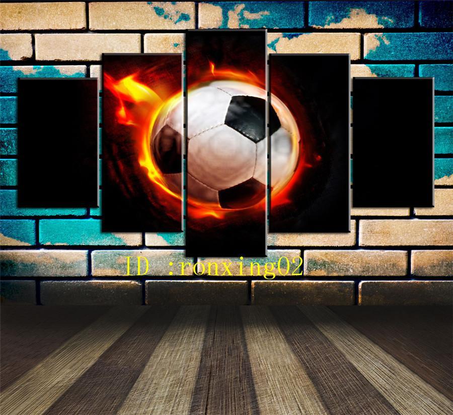 Satın Al Yanan Futbol Topu 5 Parça Ev Dekorasyonu Hd Baskılı Modern