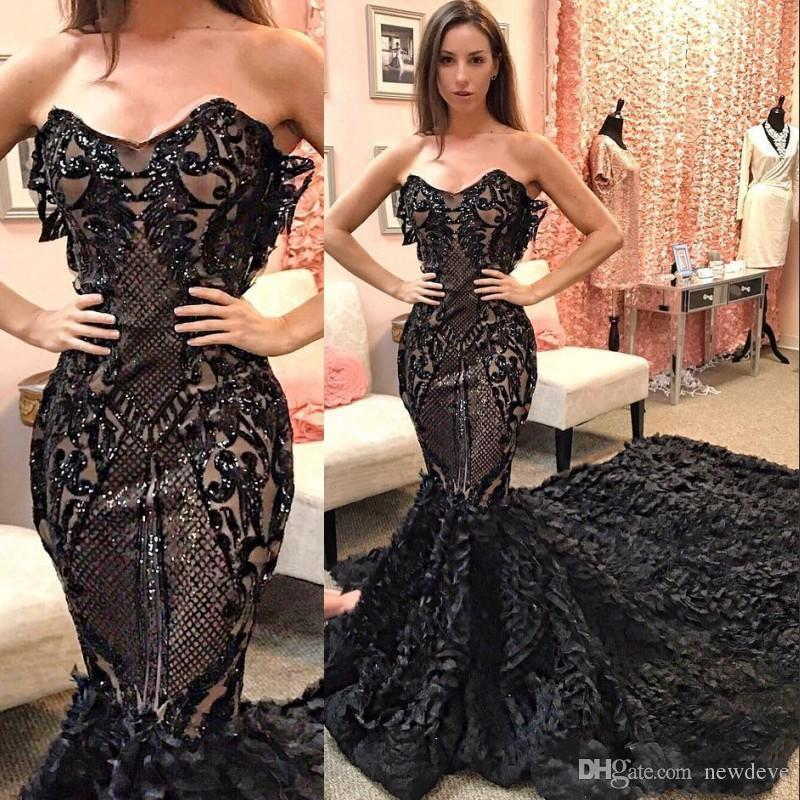 ec853b0e9325 Glamorous Mermaid Evening Dress Sequins Beads Sweetheart Neckline Black  2018 Prom Dresses Sweep Train Special Occasion Gowns Formal Dress For Women  Ladies ...