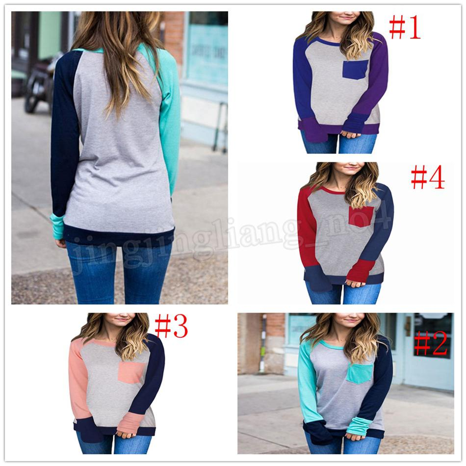 cce127f8d2370 Spring Women Patchwork Color Block Pocket Raglan Long Sleeve Baseball  TShirt Splicing O Neck Women Clothes Maternity Tees MMA211 Buy Cool Shirts  Online ...